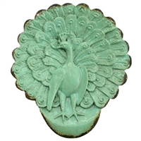 Strutting Peacock Tray Antq Sage