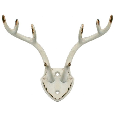 Antler Mount Wall Hook Antique White Iron