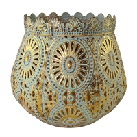 Savann Sage/Gold Metal Candle Holder Lrg