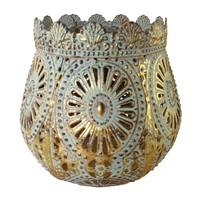 Savann Sage/Gold Metal Candle Holder Sml