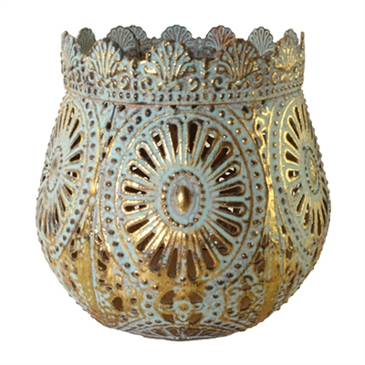 Savann Sage & Gold Metal Candle Holder Sml