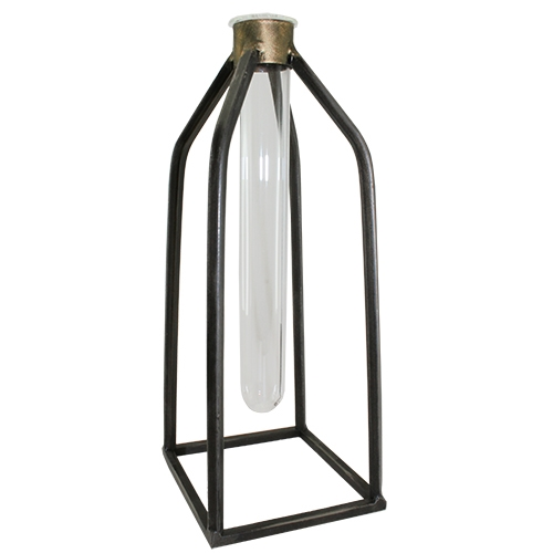 Precia Metal Artform Glass Bud Vase