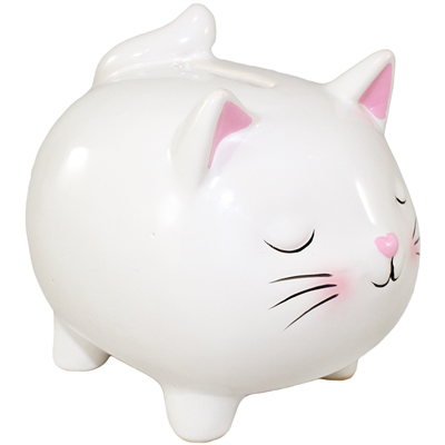 Kitty Cat Bank White & Pink