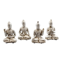 Sitting Buddha White Asst Set