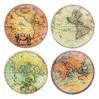 Old World Map Glass Trays