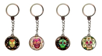 Sugar Skull Flowers Key Chain