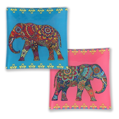 Festival Elephant Glass Trays 1Dz