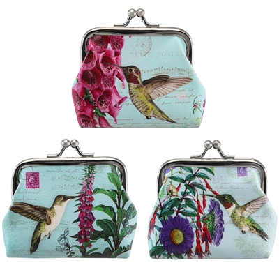 Hummingbird Garden Coin Purse Asst. Doz