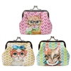 Glam Cat Coin Purse with Metal Clasp
