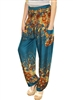 Zelda Pants Teal, Brown & Yellow Florals