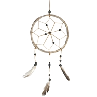 Jute Dream Catcher Natural Beads w/Feathers