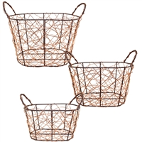 Handmade Copper & Brown Wash Wire Basket