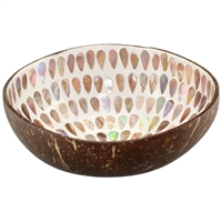 Coconut Bowl Mother of Pearl Floral Inlay