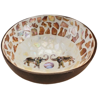 Coconut Bowl Mother of Pearl Inlay