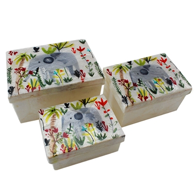Littlest Elephant Capiz Shell Nesting Boxes 3PC/SET