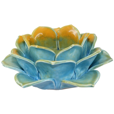 Lotus Tea Light Holder Porcelain Blue & Gold