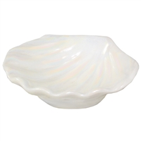 Clam Shell Porcelain Dish White Iridescent