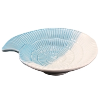 Nautilus Shell Dish Porcelain White & Blue
