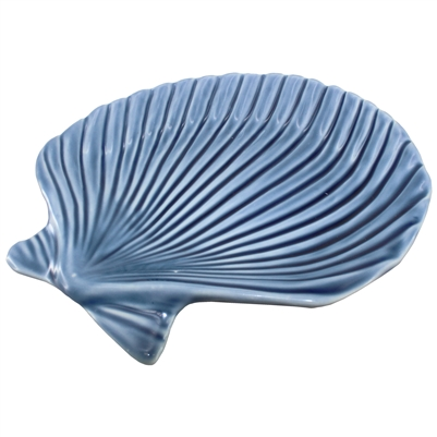Clam Shell Porcelain Tray Blue 1Dz