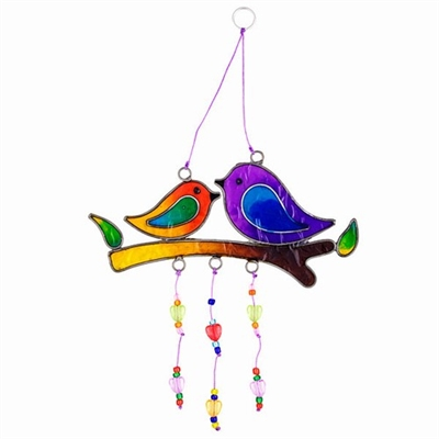 Love Birds On Branch Sun Catcher