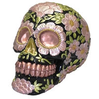 Sugar Skull Coin Bank Metallic Copper & Pink