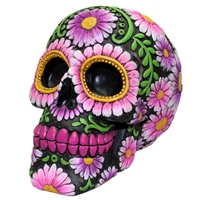 Sugar Skull Coin Bank Purple Daisy