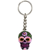 Sugar Skull Keyring Purple Daisy