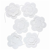 Paper Flowers Garland 3D White