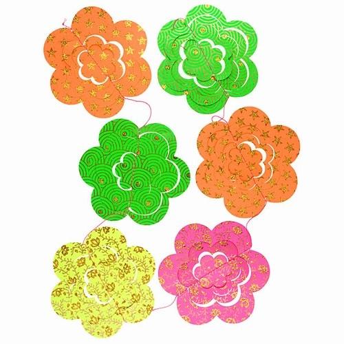 paper 3d flowers garland neon