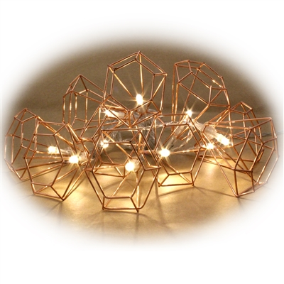 Copper Wire Cone Lights 10 Warm LEDs