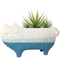 Chloe Cat Ceramic Planter White & Blue
