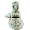 Goddess Mermaid & Urchin Planter Antique Cyan