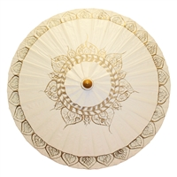 Gold Tibetan Flame Antique White Canvas Parasol