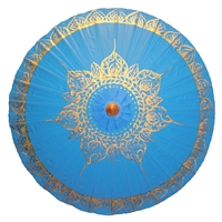 Gold Tibetan Flame Blue Parasol Canvas