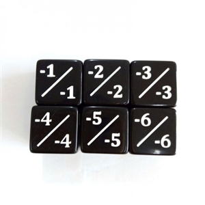 - Counter dice (set of 5) (pictured 6 showing all sides)