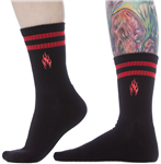 Sourpuss Flames Embroidered Crew Socks