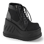 Demonia Stomp-10 Wedge Platform Lace-up Boots Bootie Black