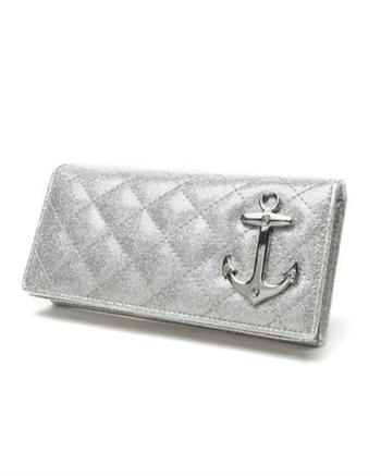 Lux de Ville Bon Voyage Wallet Silver Sparkle with Diamond Stitching and Anchor