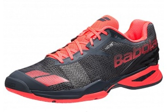 Babolat Jet All Court Men s Tennis Shoes Grey Red dc98a3f309a