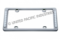 WHITE 14 LED CHROME LICENSE FRAME