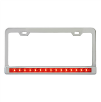 CHROME STEEL LICENSE PLATE FRAME RED W/ CLEAR LENS