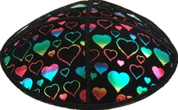 Rainbow Foil Hearts Embossed Kippot (RB95) - With Custom Imprinting