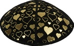 Hearts of Gold Foil Embossed Kippot (GL95) - With Custom Imprinting