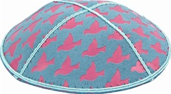 Pink Doves Foil Embossed Kippot (PK89) - With Custom Imprinting