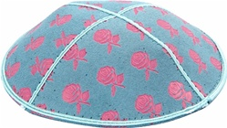 Pink Roses Foil Embossed Kippot (PK96) - With Custom Imprinting