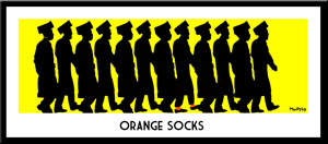 Orange Socks Chassidic Lithograph by Yitzchok Moully