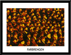 Farbrengen Chassidic Lithograph by Yitzchok Moully