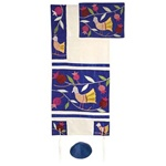 Emanuel Judaica Birds - Blue Raw Silk Women's Tallit