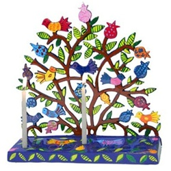 Painted Metal Lazer Cut Menorah - Birds in Pomegranate Tree by Yair Emanuel