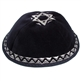 Velvet Star Kippah with Silver Embroidery
